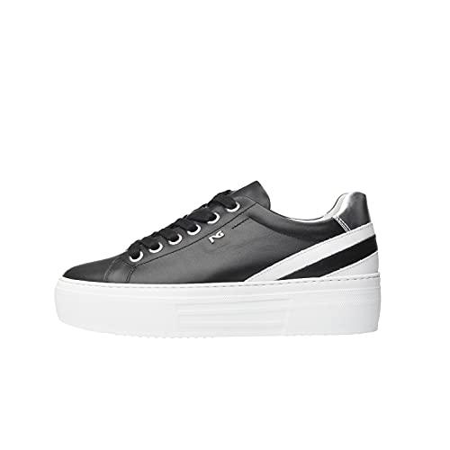 NeroGiardini E010880D Sneakers Donna in Pelle E Tela - Nero 36 EU
