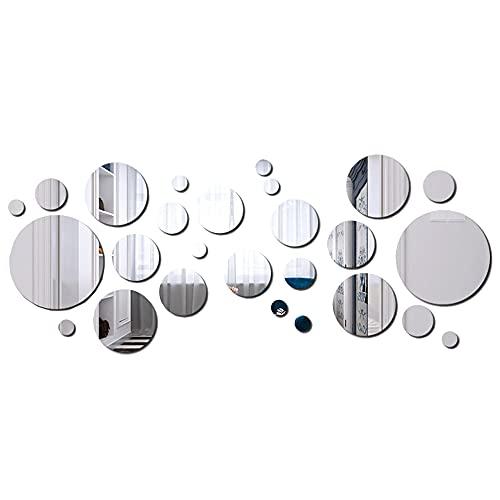 Tingz 32 Piezas Redondo de Espejo Hojas Círculo Anillo de Espejo Hojas Auto-Adhesivo Círculo Redondo Espejos para la Decoración del Hogar para la Decoración del Hogar