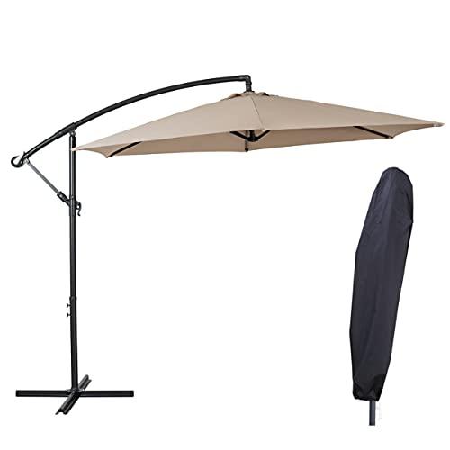 Deuline® Alu Sonnenschirm Ø300cm Gartenschirm Marktschirm Ampelschirm mit Kurbel Alu Mast UV-Schutz Wasserabweisende Bespannung gratis Schutzhülle Mallorca Sand 521803