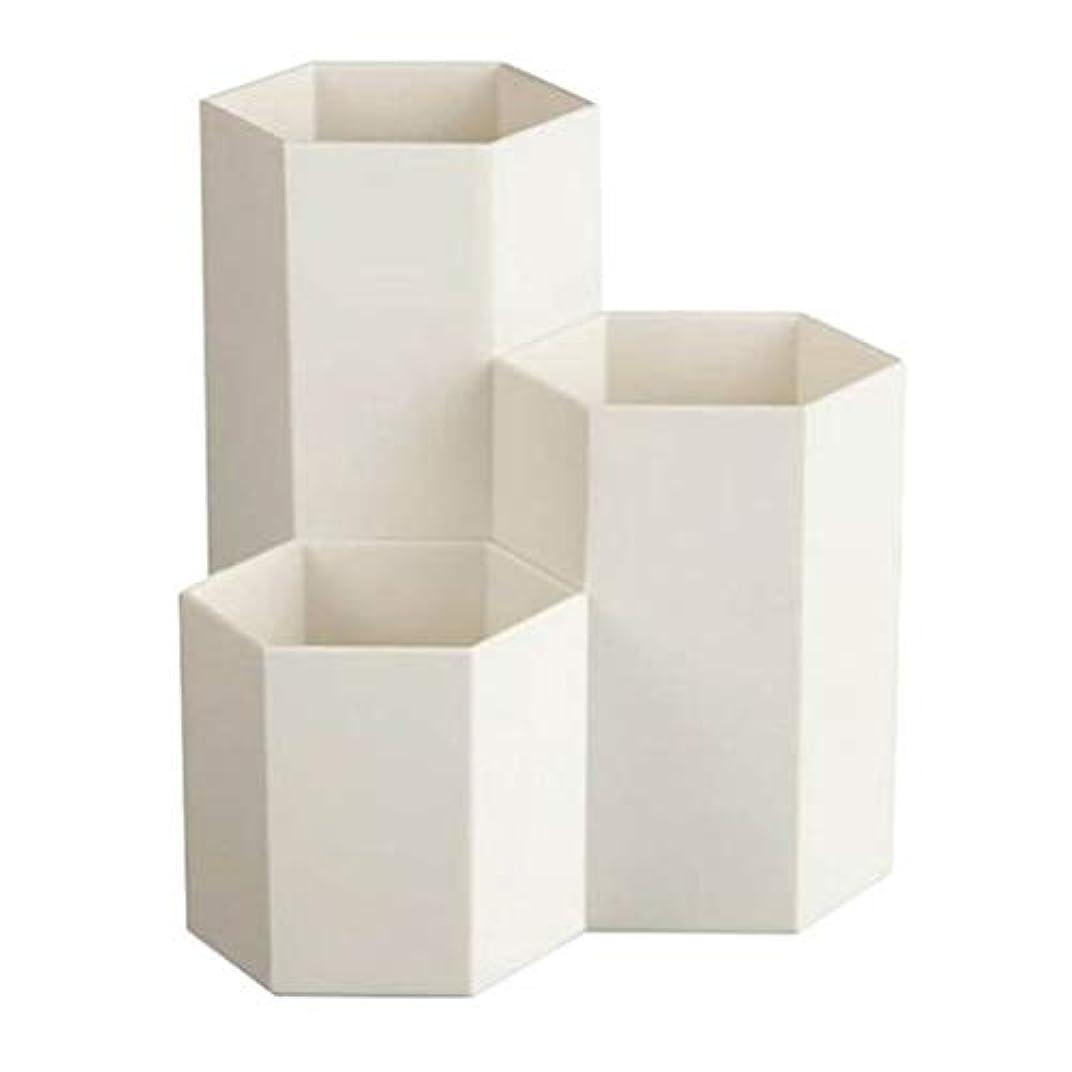 心臓スタッフ友だちTerGOOSE 卓上収納ケース メイクブラシケース メイクブラシスタンド メイクブラシ収納ボックス メイクケース ペンホルダー 卓上文房具収納ボックス ペン立て 文房具 おしゃれ 六角 3つのグリッド 大容量 ホワイト