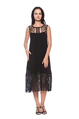 Women Plus Black 20s Flapper Fringe Evening Dance Great Gatsby Theme Party Dress