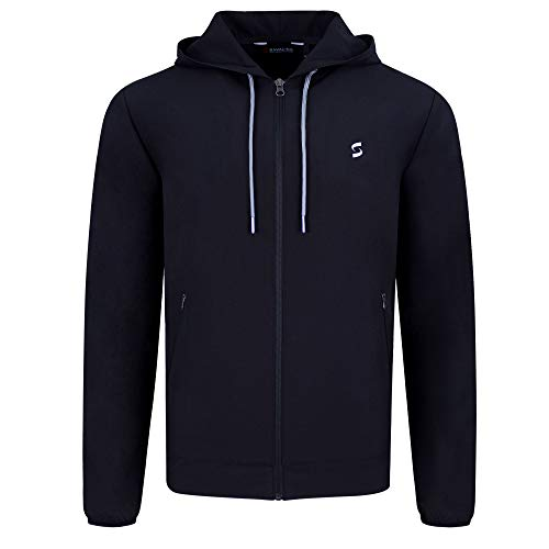 SAVALINO Sport Clothes Men's Tennis Training Hooded Warm up Jacket Material Wicks Sweat & Dries Fast