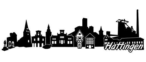 Samunshi® Hattingen Skyline Wandtattoo Sticker Aufkleber Wandaufkleber City Gedruckt Hattingen 120x37cm schwarz