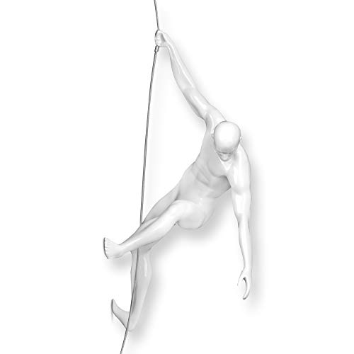 ADM - Scalatore 2 - Scultura figurativa moderna in resina laccata da appendere a parete - Bianco - H31 cm