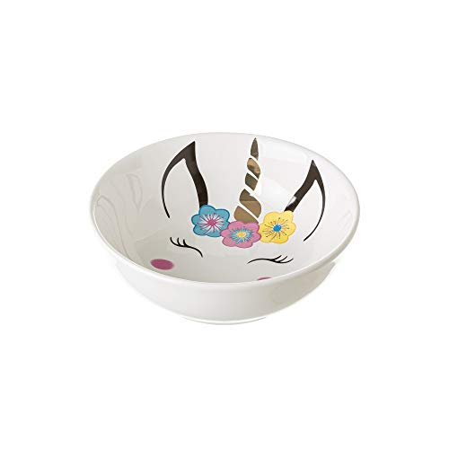 Bol para desayuno de unicornio multicolor de cerámica infantil de ø 15x5 cm - LOLAhome