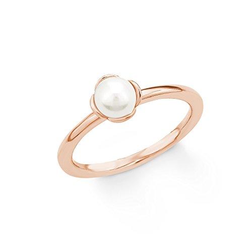 s.Oliver Damen-Ring 925 Silber teilvergoldet Perle weiß Süßwasser-Zuchtperle Creme Gr. 56 (17.8) - 2018592