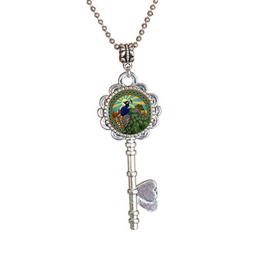 Collar con colgante de logotipo de Rey del Pavo Real hecho a mano con llave redonda para mujer, joyería para hombres, accesorios de vestir, PU250
