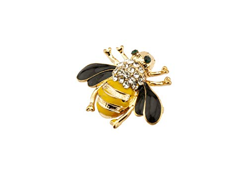 Knighthood Green Eyes Black and Yellow Bee with Swarovski Detailing Lapel Pin/Brooch