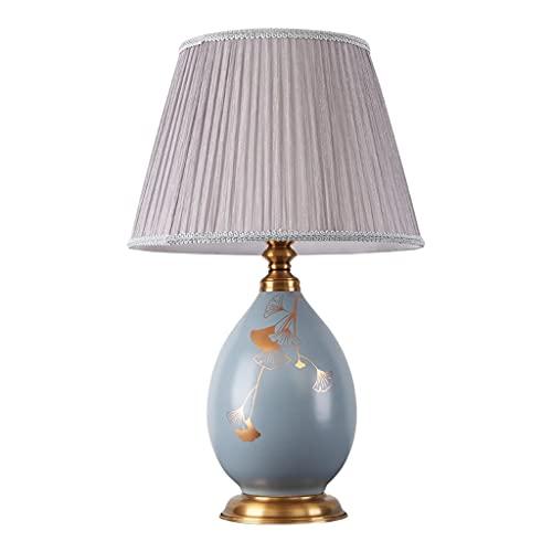 Lámpara de mesa de servicio Lámpara de mesa Nuevas lámparas de mesa de hoja de ginkgo de cerámica china, utilizadas for la lámpara de escritorio de decoración en la sala de estar de la sala de estar L