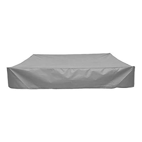 DJLOOKK Cubierta cuadrada para arenero, resistente al agua, a prueba de polvo, protección UV, cubierta de piscina cuadrada con cordón para arenero, juguetes y muebles, gris, 150 x 150 x 20 cm