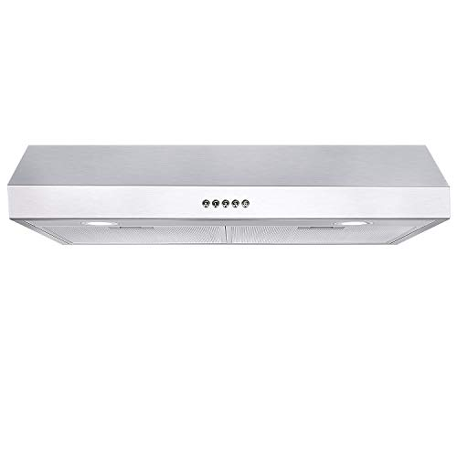 Hykolity 30 in. Under Cabinet Range Hood with Ducted, 350 CFM, Stainless Steel Kitchen Stove Vent Hood with 3 Speed Exhaust Fan, Reusable Aluminum Filters, Push Button