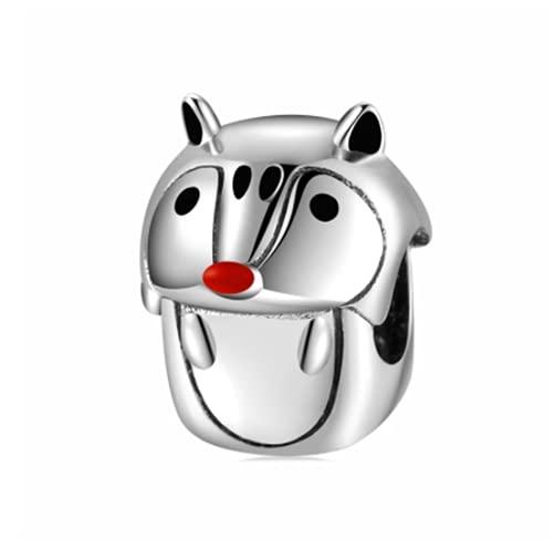 WMYDYBD 925 Sterling Silver Forest Elf Serie Mouse para Pulsera DIY Beads Original Joyas