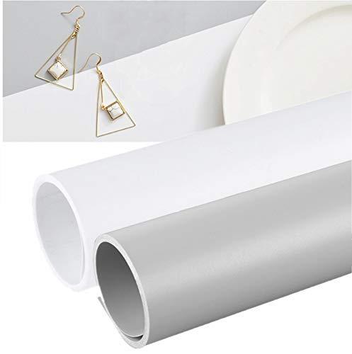 Selens PVC Hintergrund 50x100cm Wasserdicht Fotografie Hintergründe Matte Background für Fotografie Fotostudio 2 Stück (Grau und Weiß)