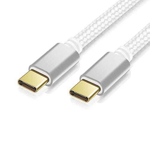 2m Nylon USB 3.0 Typ C Verbindungskabel, Ladekabel, Datenkabel, USB C auf USB C, weiß, geflochtenes Nylonkabel, Goldstecker