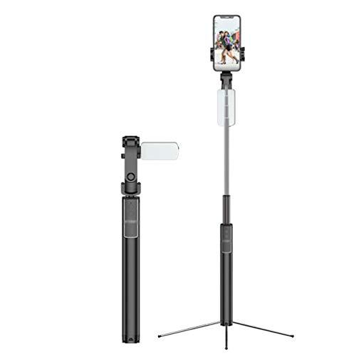 GladiolusA Selfie Stick Stativ,Mini Selfiestick Mit Bluetooth-Fernauslöse Handy Erweiterbarer Selfie-Stange Für IOS Und Android Smartphones Schwarz 160cm+Kleines Fülllicht