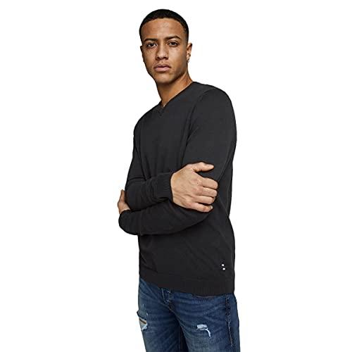 Jack & Jones Jjebasic Knit V-Neck Noos suéter, Negro (Black Black), Large para Hombre