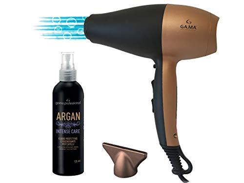 Secador de pelo gama con aceite de argán de regalo – Innovadora tecnología Ozone Ion 5D – Equipado con 6 combinaciones – Profesional y fabricado en Italia – Fortalece el cabello mientras lo seca