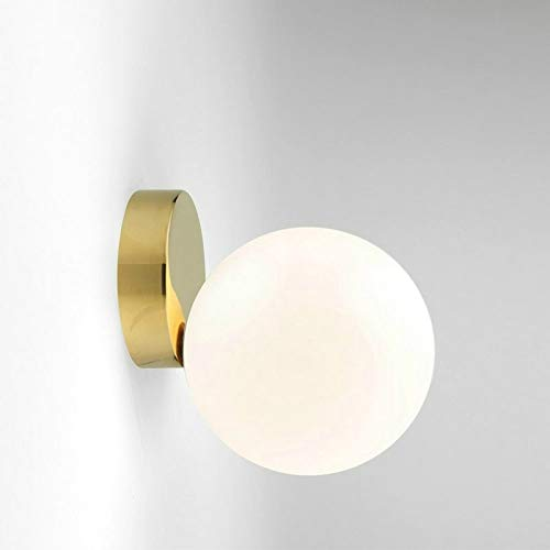 Spotlight Wall Modern Glas Ball leidde wandlamp Bedroom Mirror verlichtingsarmaturen Indoor bedlampje, Lichtbron: 12W LED Warm Light (Copper + 15cm Wit glazen kap).