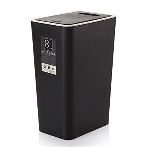 Demarkt–Cubo de basura mano Pulsar protectora Pulsar Cubo de basura Touch Tapa Push Lid Cubo de basura inodoro Cocina Oficina de basura papelera Azul 34 x 22 x 15cm Negro