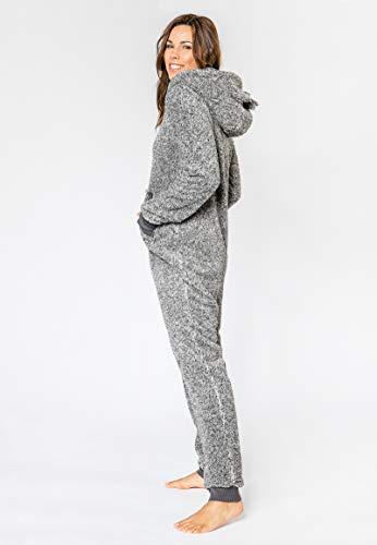 Eight2Nine Damen Jumpsuit aus kuscheligem Teddy Fleece | Overall | Ganzkörperanzug mit Ohren Dark-Grey - 6
