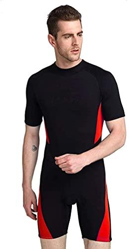 CXQA Traje de Neopreno para Hombres con Traje de Neopreno, Neopreno Wetsuits Wetsuits - Ideal para Kayak, Buceo, Red,Rojo,5XL