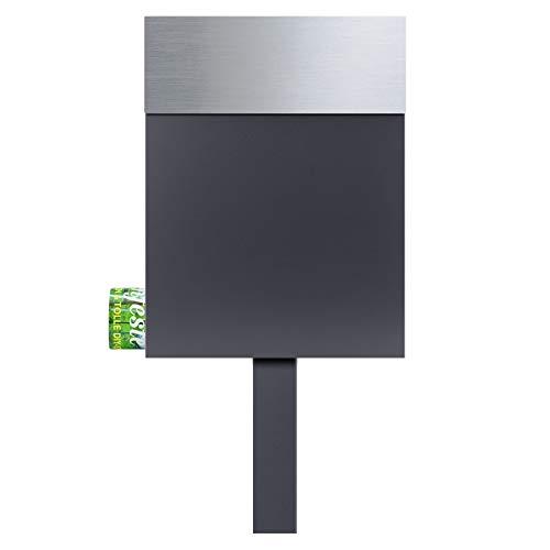 MOCAVI SBox 510 Stand-Postkasten freistehend mit Zeitungsfach edelstahl anthrazit Standbriefkasten zum Einbetonieren
