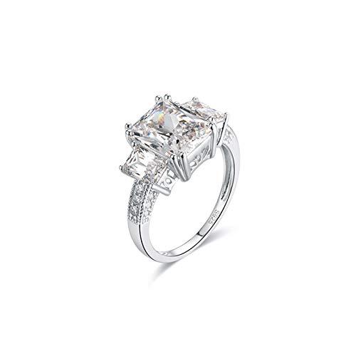 ANAZOZ Echtschmuck Damen Ring 18 Karat Weißgold mit Moissanite Solitärtring Verlobungsringe Trauring Blume Moissanite Bandring Größe 56 (17.8)
