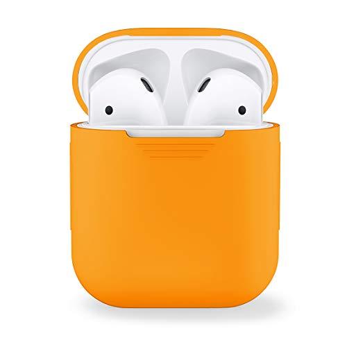 MyGadget Custodia in Silicone Morbido Cover per Airpods Apple 1 e 2 Generazione - Case per Cuffie Auricolari - Skin in Gomma - Arancione
