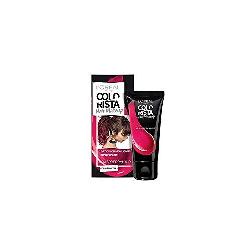 L'Oréal Paris Colorista Hair Makeup Colorazione Temporanea 1 Giorno per Ciocche e Punte, Tinta per Capelli Castani, Meches Rosa Lampone, 30 ml