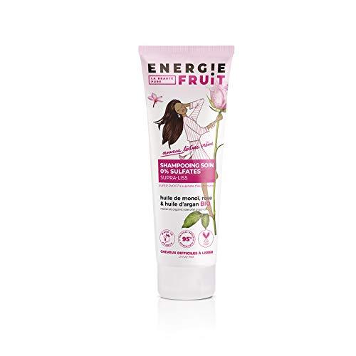 Energie Fruit Shampoing sans Sulfate Monoï/Rose/Huile d'Argan Bio pour Cheveux Secs/Rebelles