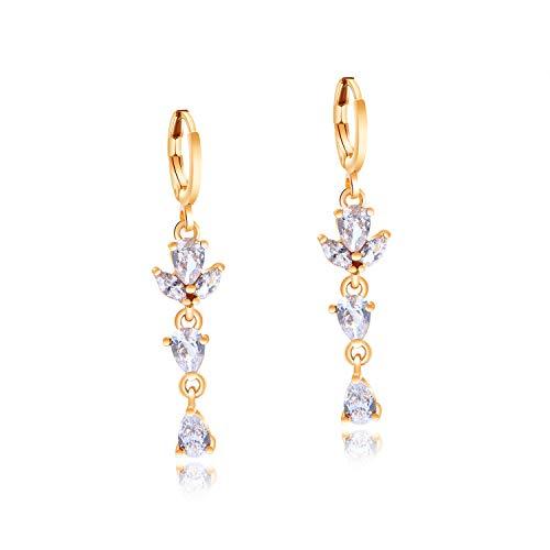 Aymsm Pendientes de Oro Chapado en Cobre de 18 Quilates para Mujer Joyas Color Salvaje Diamante Circón Pendientes para Mujer Blanco