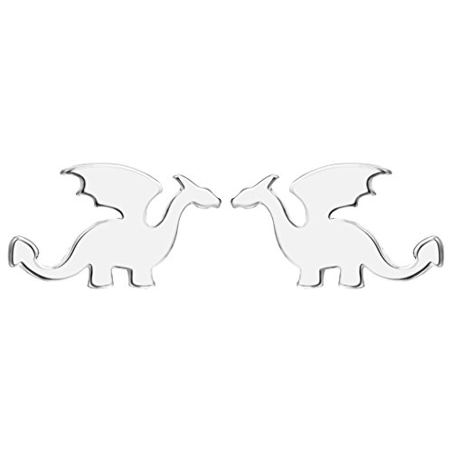 Chengxun Simple Plain Dragon Outline Hypoallergenic Stud Earrings Abstract Jewelry (Silver)