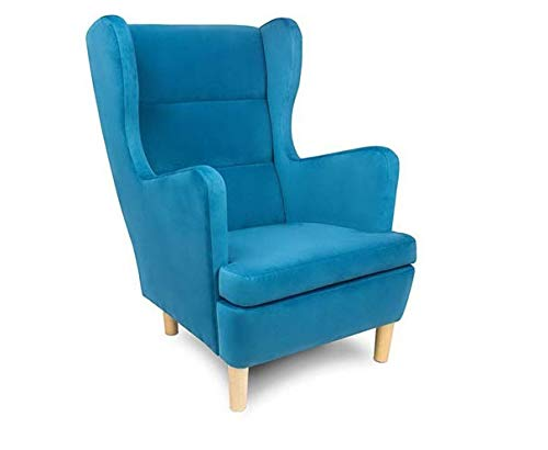 Bequemer und Trendiger Ohrensessel mit Armlehnen großer Sessel (Blau)