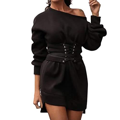 Xmiral Damen Kleid Einfarbig Langarm Rundhals Pullover Kleid + Taillenband Gürtel Winter Mini Dick Lange Sweatshirt(Schwarz,XL)
