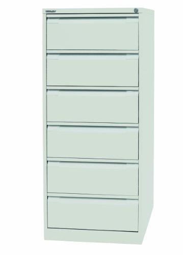 Bisley Kaartenkast van staal voor indexkaarten DIN A5 met 6 schuifladen 2-laags | metalen kast afsluitbaar in kleur zuiver wit