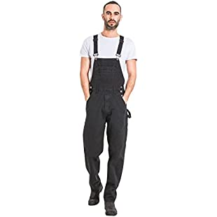 Uskees Mens Relaxed Fit Denim Dungarees - Black Value Bib Overalls Low Cost Dungarees MENSVALUEBLACK-36W