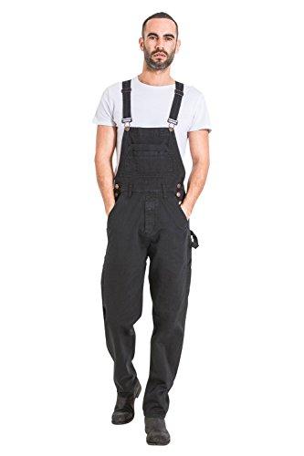 Wash Clothing Company Latzhose,Bequeme Passform - Schwarz Preisgünstig Jeanslatzhose Herren Overalls MADDOXBLK-XXL-40