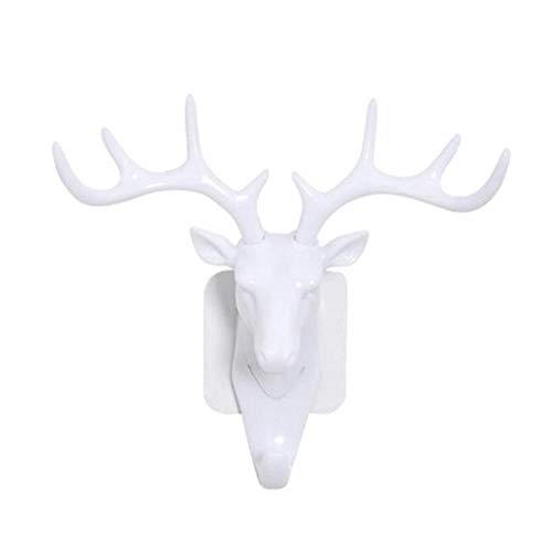 Kerst Herten Hoorn Wandmontage Tas Hanger Gewei Haak Zelfklevende Hanger Rack Elanden Hoofd Design Tas Sleutels Kleverige Houder, Wit