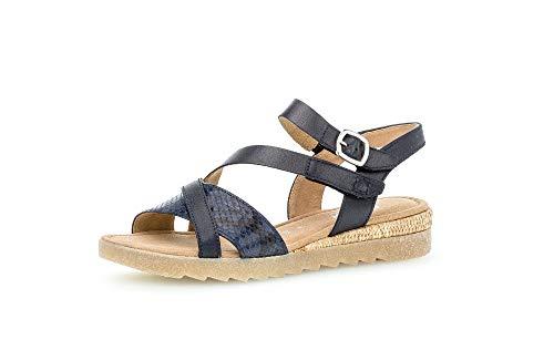 Gabor Damen Sandalen, Frauen Riemchensandalen,Comfort-Mehrweite, Women's Woman Freizeit leger Sandalette bequem,Midnight/blu(Bast),43 EU / 9 UK