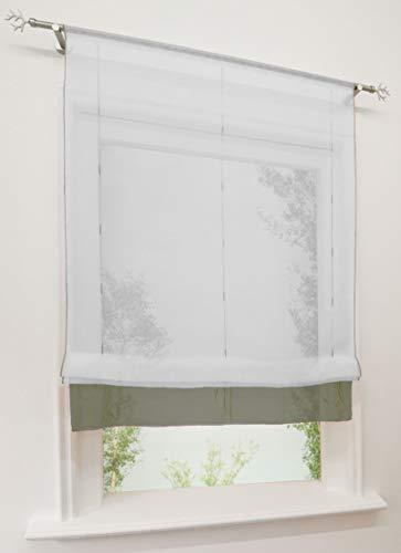 EZ GLAM 1pc estor transparente pase Barra con borde colorée Store de nudos, decoración de ventana, poliéster, gris/blanco, LxH 140x155cm