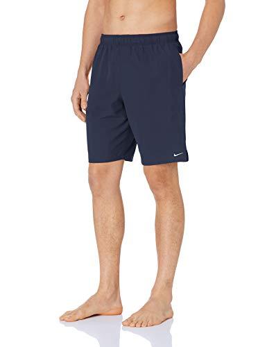 Nike Swim Men's Standard Solid Lap 9' Volley Short Swim Trunk, Midnight Navy White, Medium
