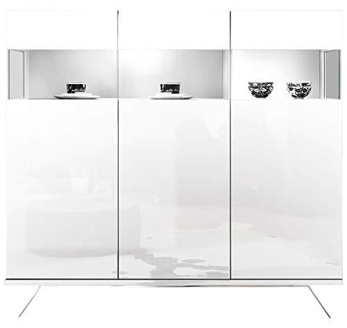 Highboard Kommode Wohnzimmerschrank | Dekor | Weiß Hochglanz | 3 Türen mit Glaseinsatz