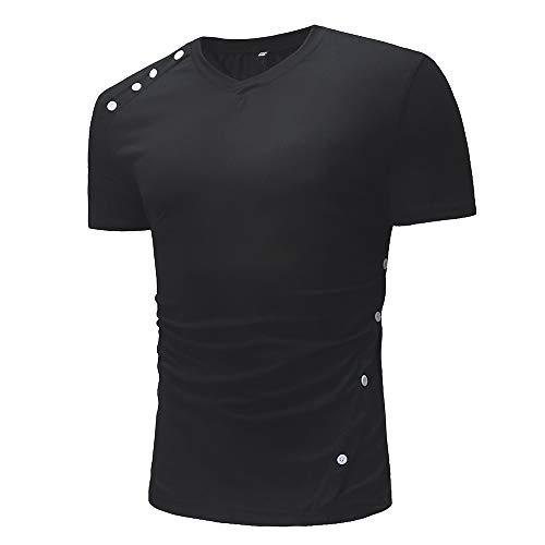 Shirt Deportiva Hombre Verano Cuello En V Cordones Hombres Shirt Ocio Botones Empalme Hombre Shirt Slim Fit Cómoda Tendencia De Moda Manga Corta Hombre T-Shirt G-Black2 XXL