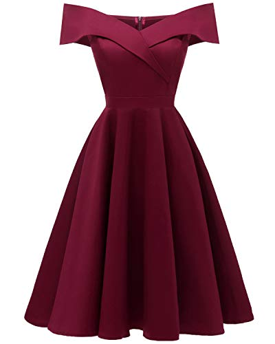 Viloree 50s Rockabilly Damen Kleid Baumwolle Schulterfrei Swing Party festlich Wein M
