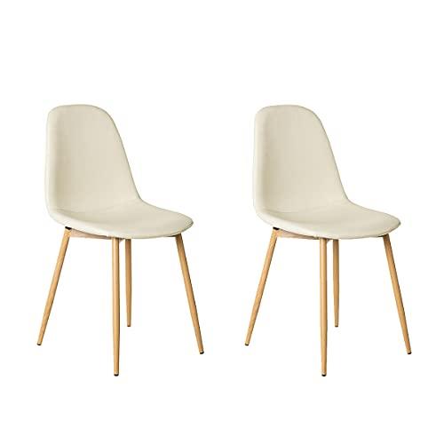 Pack de 2 sillas de Comedor tapizadas de Tela y Metal de 47x51x81 cm - LOLAhome (Blanco Roto)
