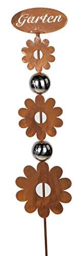 formano Décoration de jardin en forme de fleur avec boules en acier inoxydable - Rouille - 116 cm