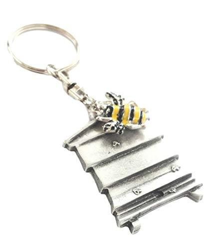 RUCHE & abeille fait à la main étain porte clé + BADGE + POCHETTE EN ORGANZA + 59mm Insigne de bouton