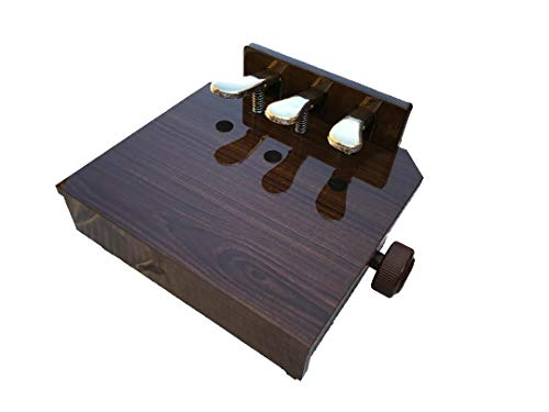Wood Adjustable Piano Pedal Extender Bench in Walnut with 3 Pedals