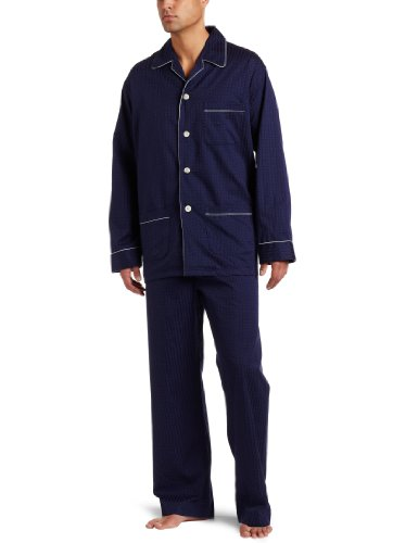 Derek Rose Herren Pyjama-Set Royal Piped - Blau - Large