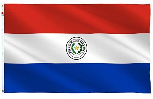 rhungift Paraguay-Flagge, 91 x 152 cm, für den Außenbereich, mittelgroß, beidseitig robust, 100D Polyester, Segeltuchkopf & doppelt genäht, Messingösen für einfaches Ausstellen, Paraguaya-Flaggen